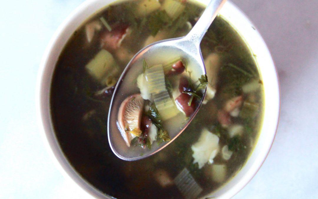 Fresh Herb and Mushroom Soup