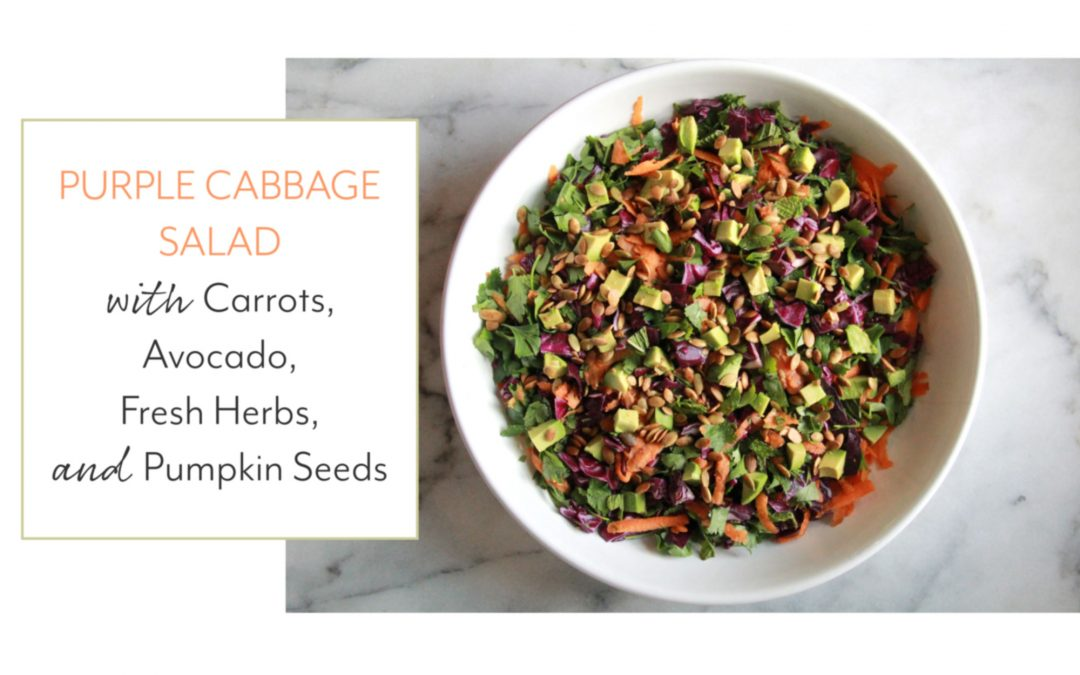 Purple Cabbage Salad Recipe with Carrots, Avocado, Fresh Herbs, and Pumpkin Seeds